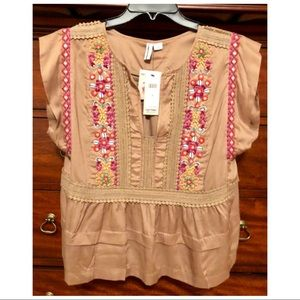 Anthropologie Embroidered taupe top
